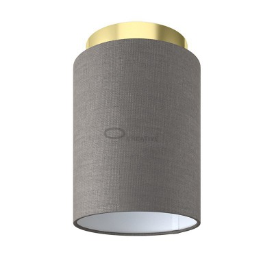 Fermaluce: wall or ceiling lightspot in brass finish metal with Grey Arenal Cylinder Lampshade Ø 15 cm h18 cm
