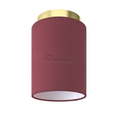 Fermaluce: wall or ceiling lightspot in brass finish metal with Burgundy Canvas Cylinder Lampshade Ø 15 cm h18 cm