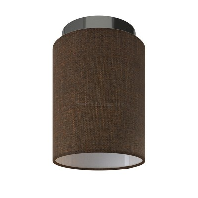 Fermaluce: wall or ceiling lightspot in black pearl metal with Brown Camelot Cylinder Lampshade Ø 15 cm h18 cm