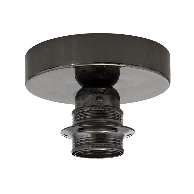 Fermaluce: wall or ceiling lightspot in black pearl metal with Burgundy Canvas Cylinder Lampshade Ø 15 cm h18 cm