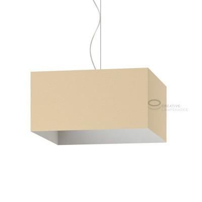 Verkleideter Lampenschirm Parallelepiped Haselnuss Leinwand