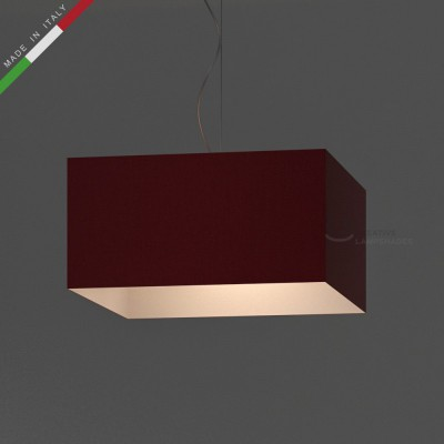 Parallelepiped Lampshade with Red Canvas covering