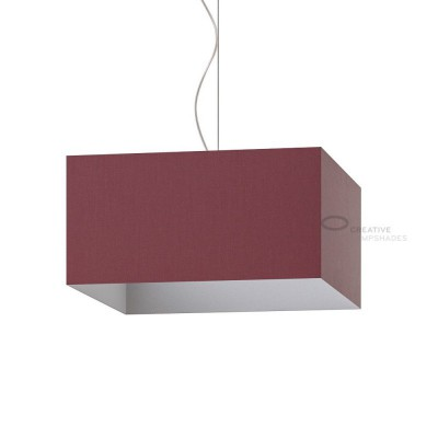 Parallelepiped Lampshade with Burgundy Canvas covering