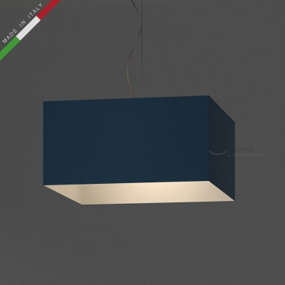 Verkleideter Lampenschirm Parallelepiped hellblau Leinwand
