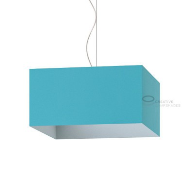 Parallelepiped Lampshade with Heavenly Blue Cinette covering