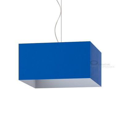 Parallelepiped Lampshade with Blue Cinette covering