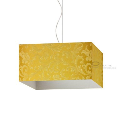 Parallelepiped Lampshade with Golden Yellow Damascus covering