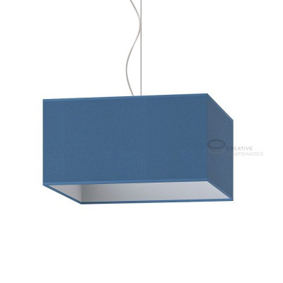 Parallelepiped Lampshade with Heavenly Blue Jute covering