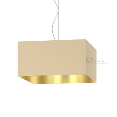 Parallelepiped Lampshade with Hazel Canvas With Golden Inward covering