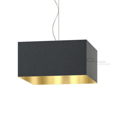 Parallelepiped Lampshade with Black Canvas With Golden Inward covering