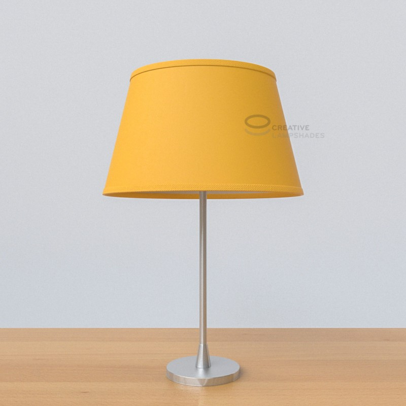 Oval Lampshade With Golden Yellow Canvas Covering