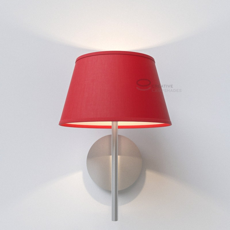 abat jour ovale rev tement toile rouge. Black Bedroom Furniture Sets. Home Design Ideas