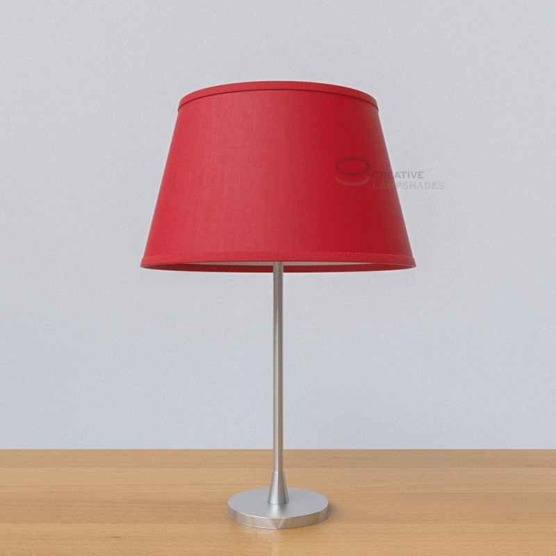 Oval Lampshade with Red Canvas covering