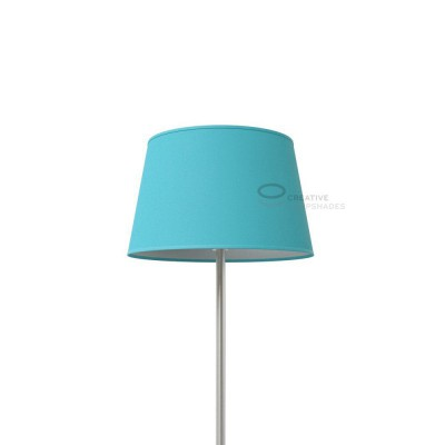 Oval Lampshade with Heavenly Blue Cinette covering