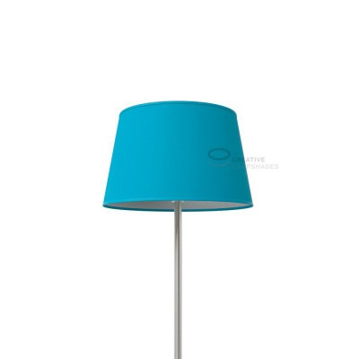 Oval Lampshade with Turquoise Cinette covering