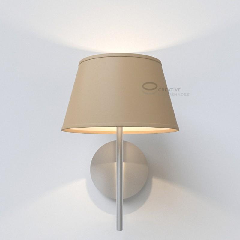 oval verkleideter lampenschirm turtelbraun. Black Bedroom Furniture Sets. Home Design Ideas