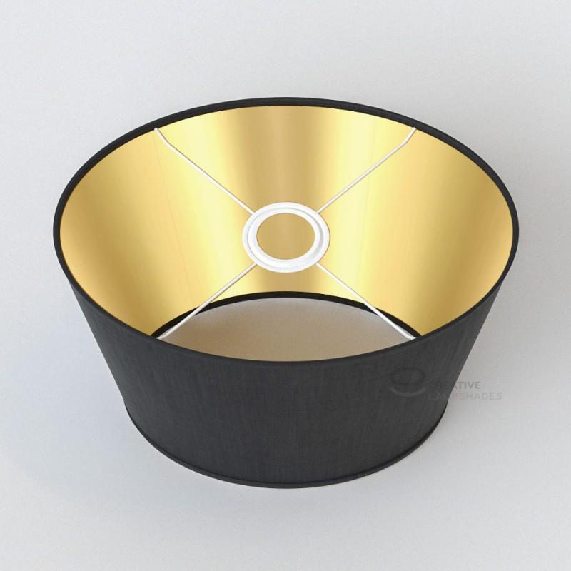 Oval Verkleideter Lampenschirm Schwarz Leinwand Innen Gold