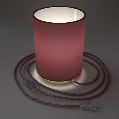 Posaluce with Burgundy Canvas Cylinder lampshade, brass metal, with textile cable, in-line switch and 2 poles plug