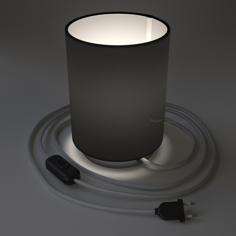 Posaluce with Black Canvas Cylinder lampshade, black pearl metal, with textile cable, in-line switch and 2 poles plug