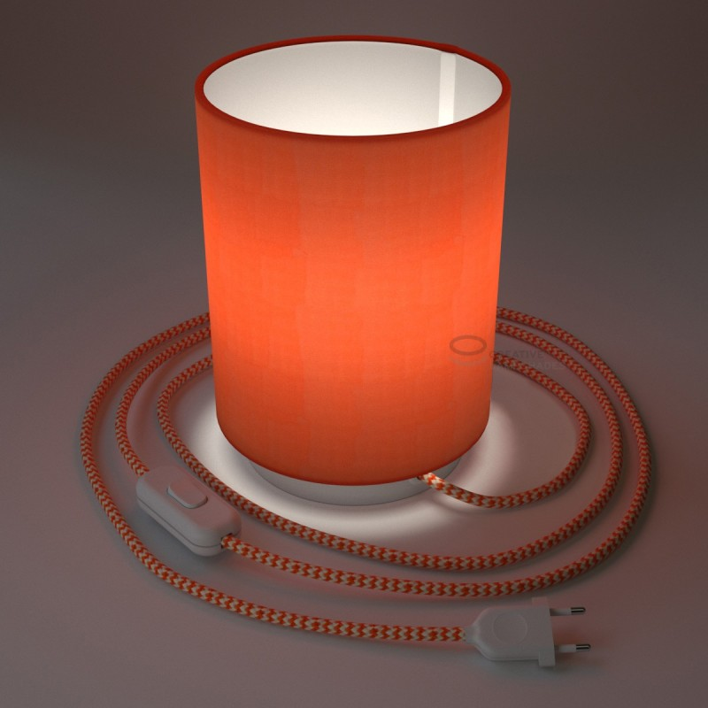 Posaluce with Lobster Cinette Cylinder lampshade, white metal, with textile cable, in-line switch and 2 poles plug