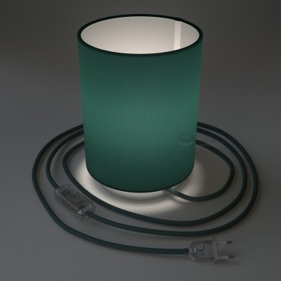 Posaluce with Petrol Blue Cinette Cylinder lampshade, chrome metal, with textile cable, in-line switch and 2 poles plug