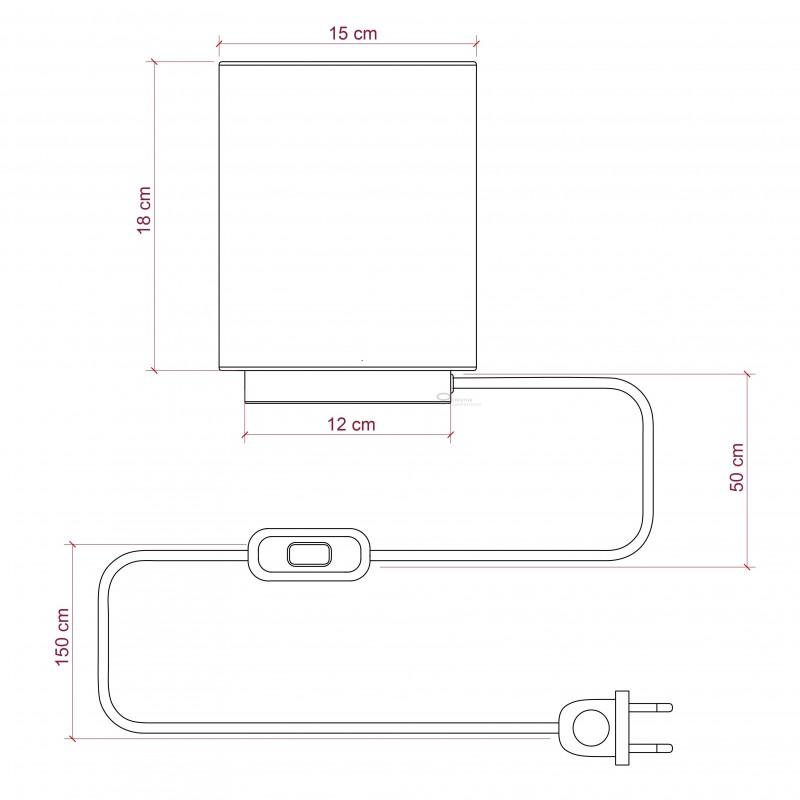 Posaluce in metallo ottonato con paralume Cilindro Linone Bianco, cavo tessile, interruttore e spina a due poli