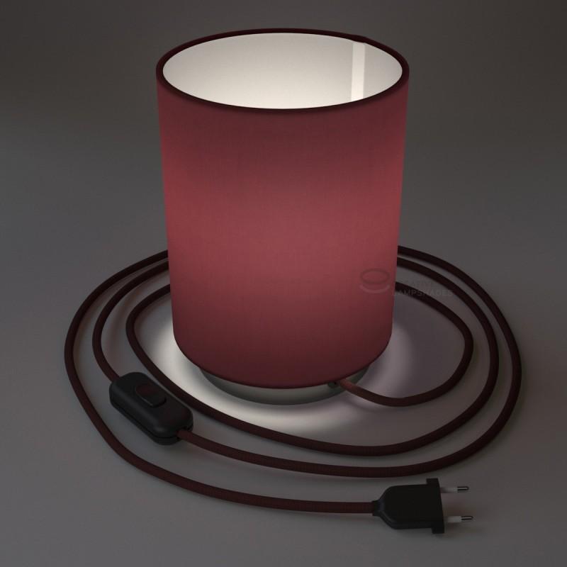 Posaluce in metallo nero perla con paralume Cilindro Teletta Bordeaux, cavo tessile, interruttore e spina a due poli