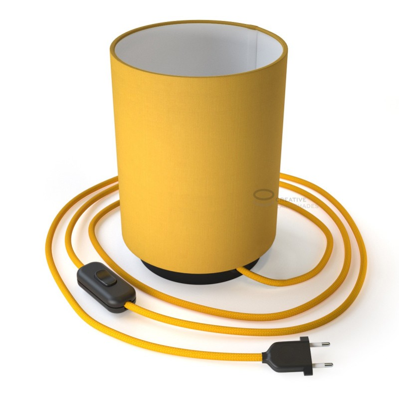 Posaluce with Bright Yellow Canvas Cylinder lampshade, black metal, with textile cable, in-line switch and 2 poles plug
