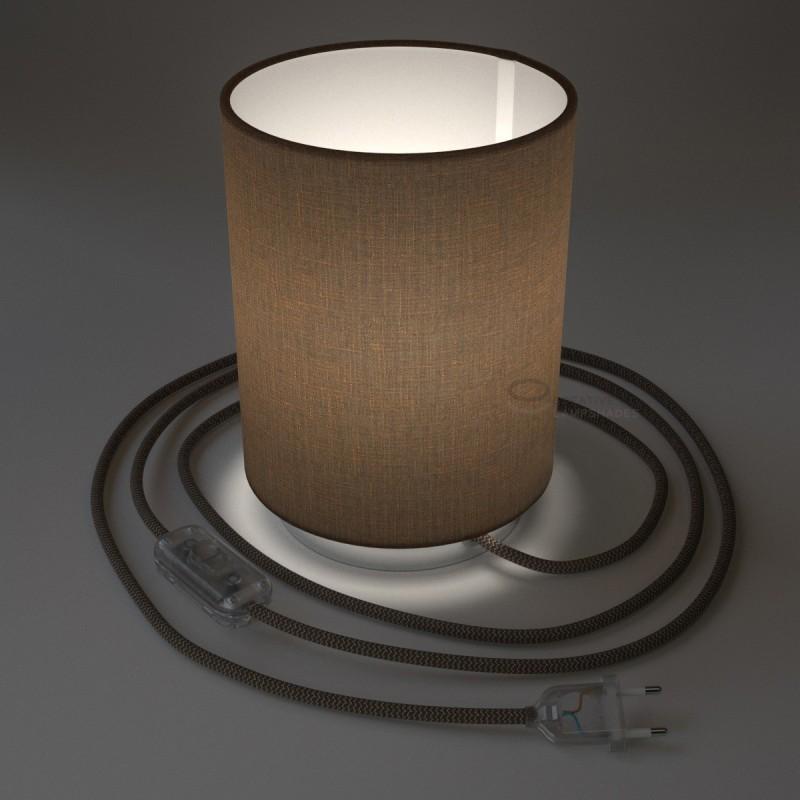 Posaluce in metallo cromato con paralume Cilindro Camelot Marrone, cavo tessile, interruttore e spina a due poli