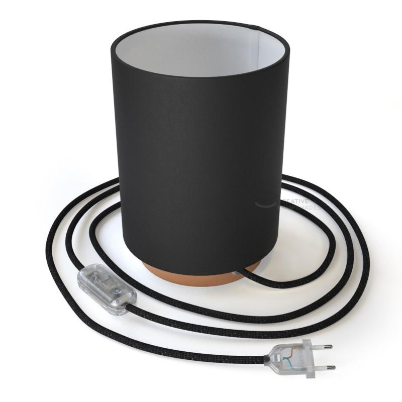 Posaluce in metallo ramato con paralume Cilindro Teletta Nero, cavo tessile, interruttore e spina a due poli