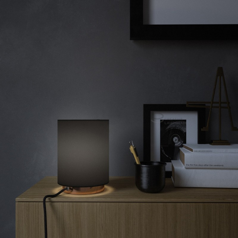 Posaluce with Black Canvas Cylinder lampshade, coppered metal, with textile cable, in-line switch and 2 poles plug