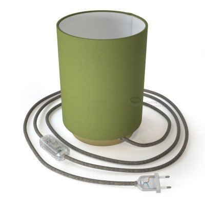 Posaluce with Olive Green Canvas Cylinder lampshade, brass metal, with textile cable, in-line switch and 2 poles plug