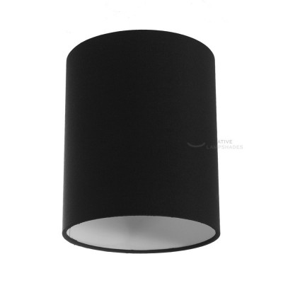 Black Canvas Cylinder Lampshade, Ø 15cm h18cm, E27 fitting - 100% Made in Italy