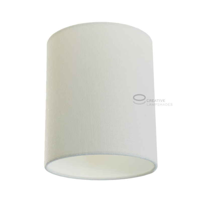 White Raw Cotton Cylinder Lampshade, Ø 15cm h18cm, E27 fitting - 100% Made in Italy