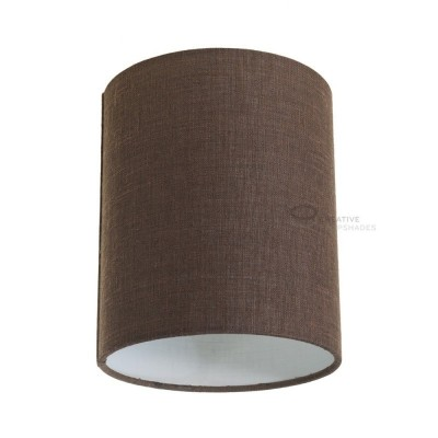 Brown Camelot Cylinder Lampshade, Ø 15cm h18cm, E27 fitting - 100% Made in Italy