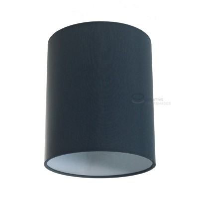 Petrol Blue Cinette Cylinder Lampshade, Ø 15cm h18cm, E27 fitting - 100% Made in Italy