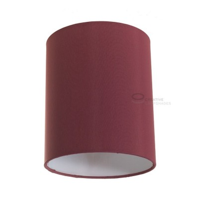 Burgundy Canvas Cylinder Lampshade, Ø 15cm h18cm, E27 fitting - 100% Made in Italy