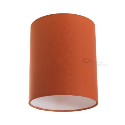 Zylindrischer Lampenschirm in Cinette Orange, Ø 15cm h18cm, Anschluss E27 - 100% Made in Italy