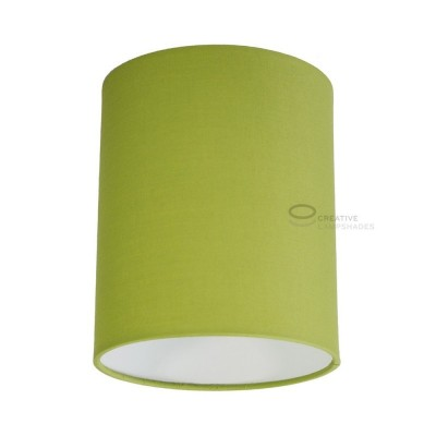 Olive Green Canvas Cylinder Lampshade, Ø 15cm h18cm, E27 fitting - 100% Made in Italy