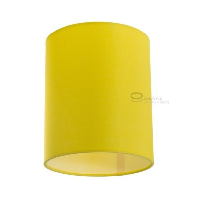 Bright Yellow Canvas Cylinder Lampshade, Ø 15cm h18cm, E27 fitting - 100% Made in Italy