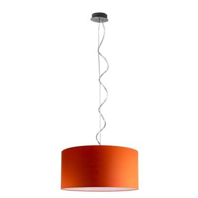 Pendel tondo metallo satinato ad una luce E 27 max 60 w