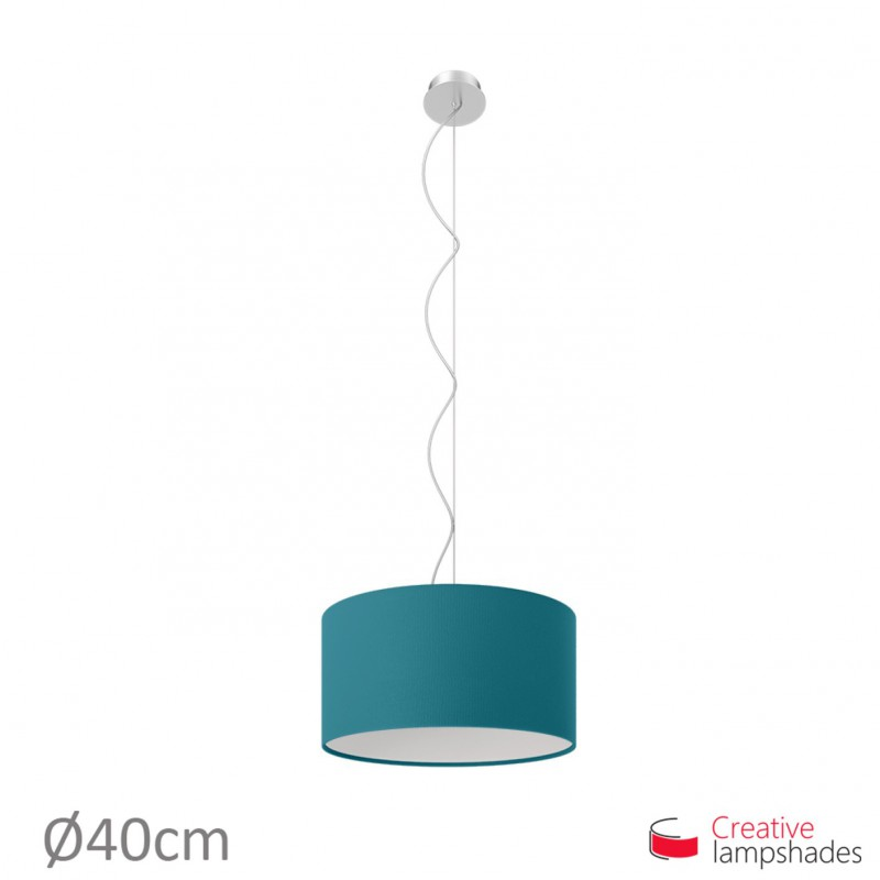 Blue Cinette Cylinder Lamp Shade