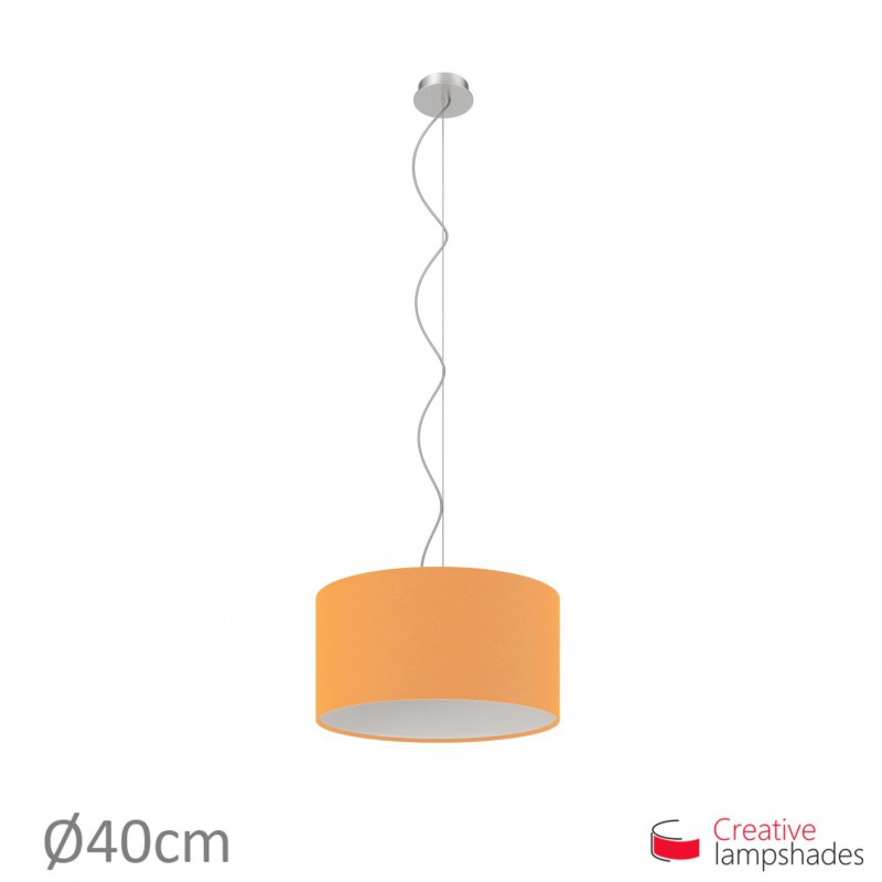 Mandarin Orange Canvas Cylinder Lamp Shade