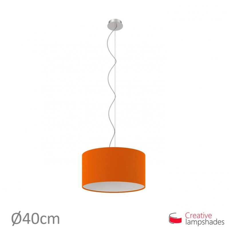 Orange Canvas Cylinder Lamp Shade