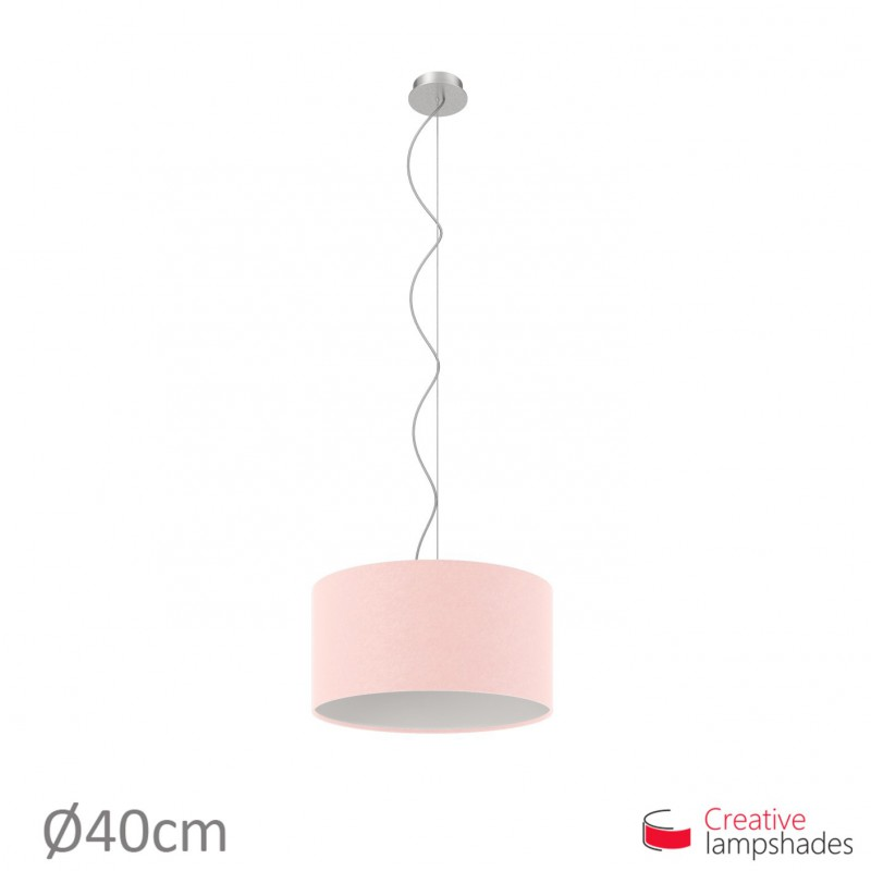 Pink Canvas Cylinder Lamp Shade
