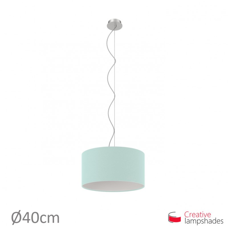 Heavenly Blue Canvas Cylinder Lamp Shade