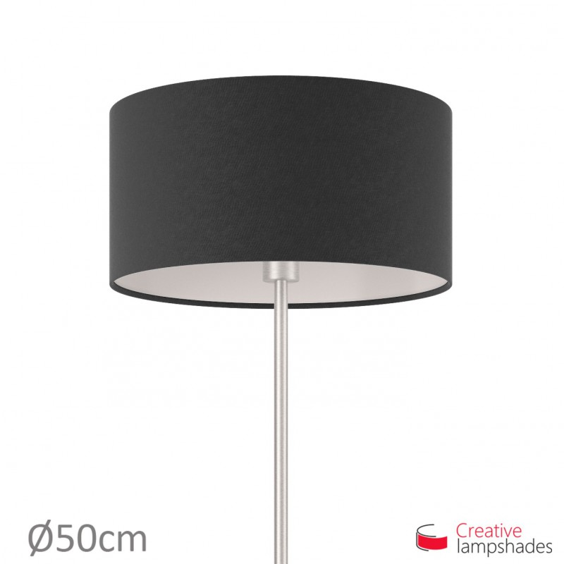 Black Canvas Cylinder Lamp Shade