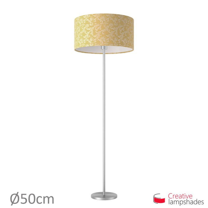 Golden Yellow Damascus Cylinder Lamp Shade