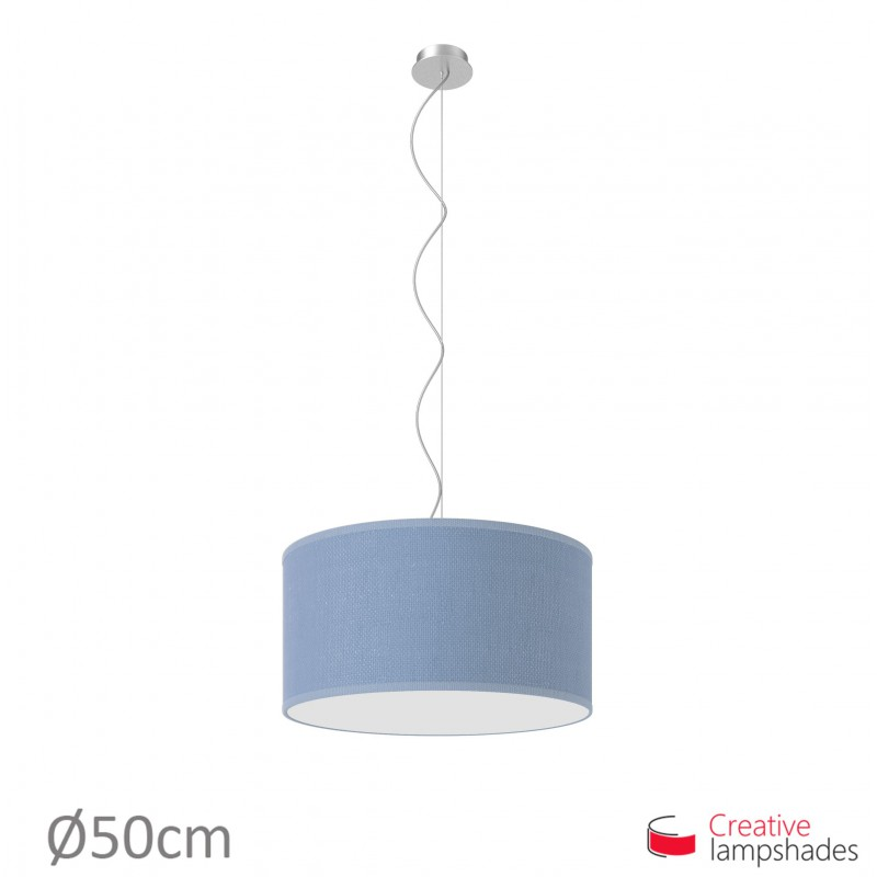 Heavenly Blue Jute Cylinder Lamp Shade
