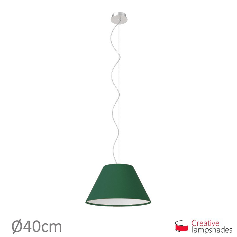 Chinese lampshade with Dark Green Canvas covering